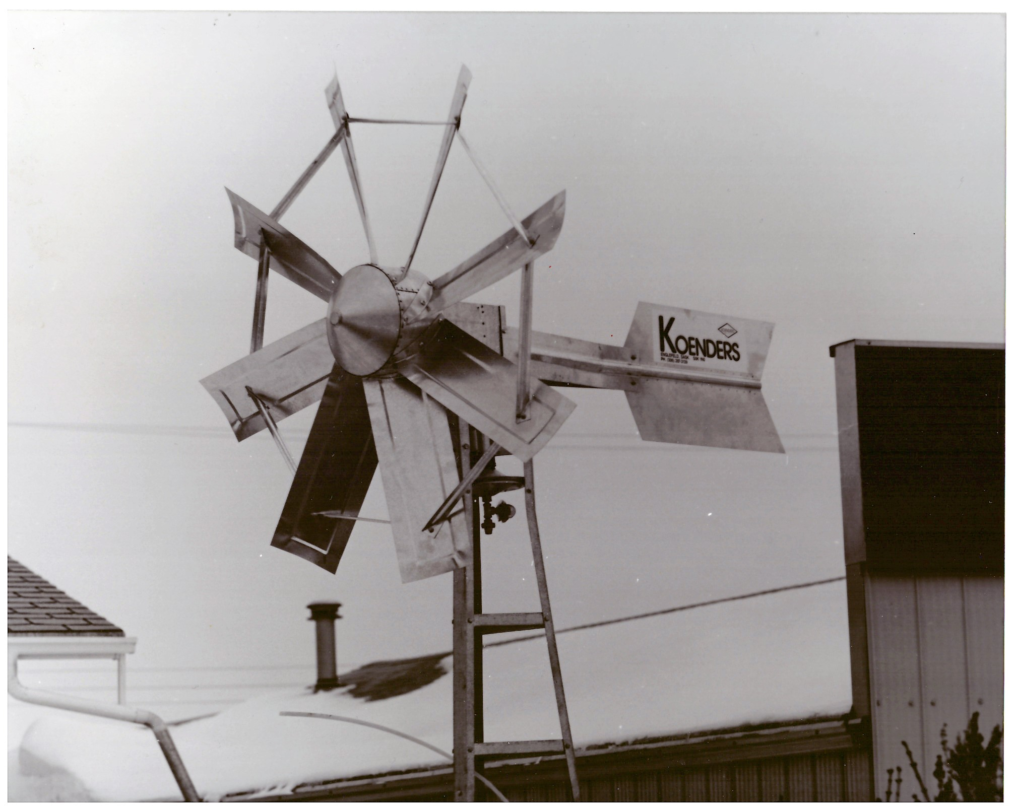 old black and white windmill photo